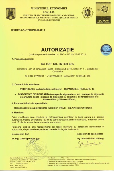Autorizatie ISCIR supape